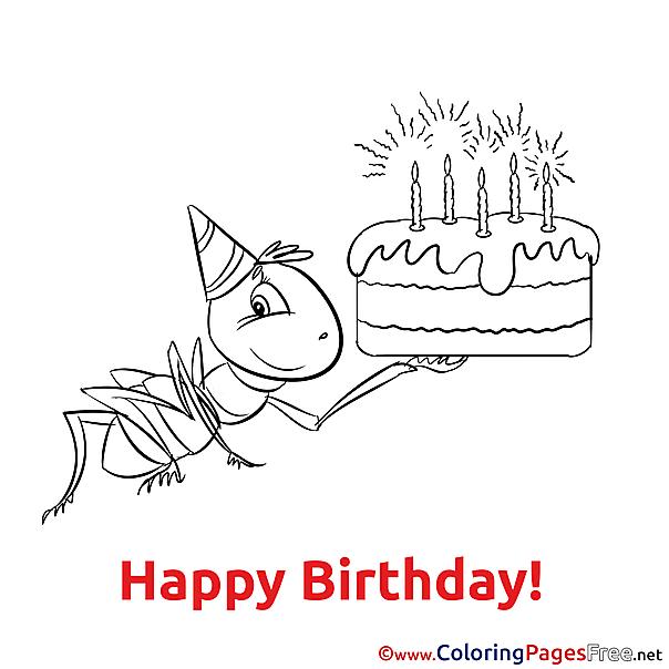Ant Cake Happy Birthday Colouring Sheet free