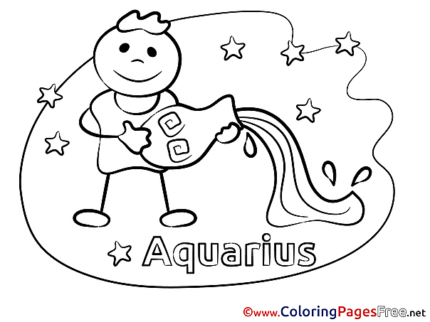 Aquarius free Happy Birthday Coloring Sheets
