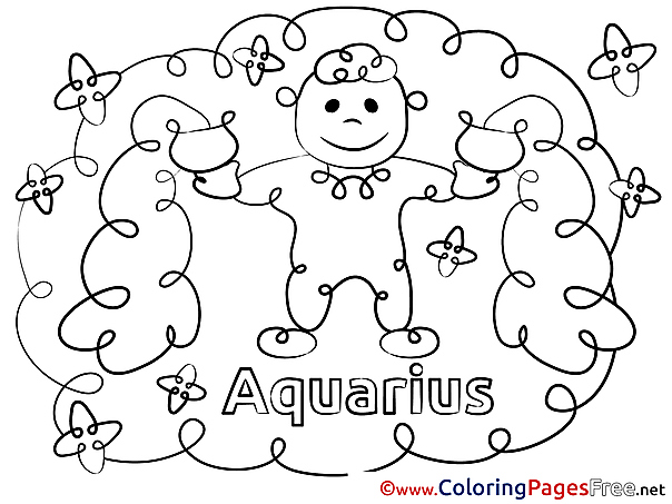Aquarius Kids Happy Birthday Coloring Page