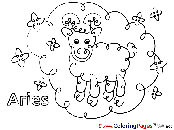 Aries Children Happy Birthday Colouring Page