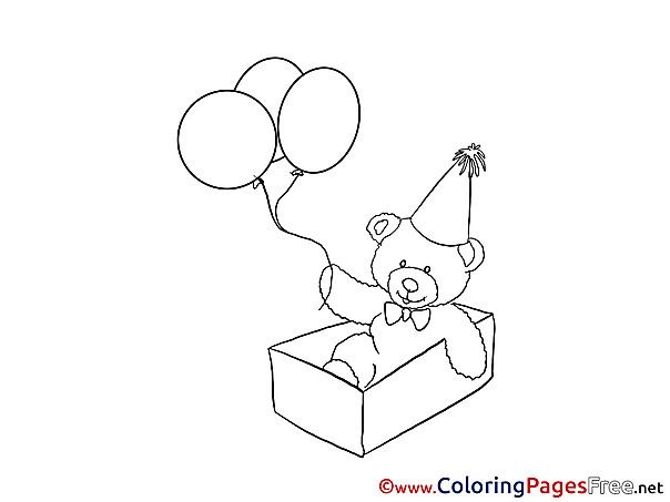Balloons Bear Children Happy Birthday Colouring Page