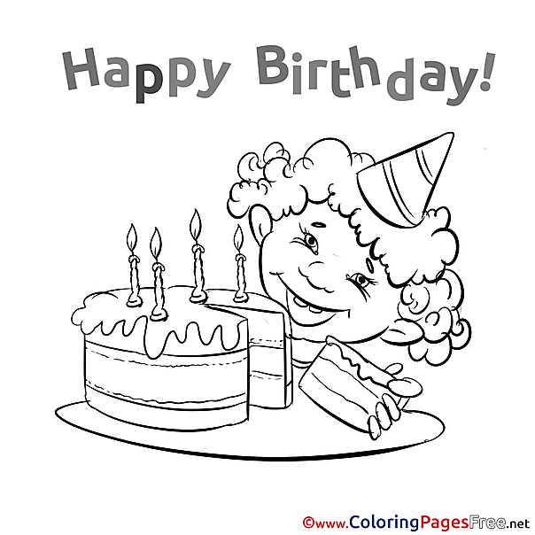 Boy Cake Happy Birthday Coloring Pages download