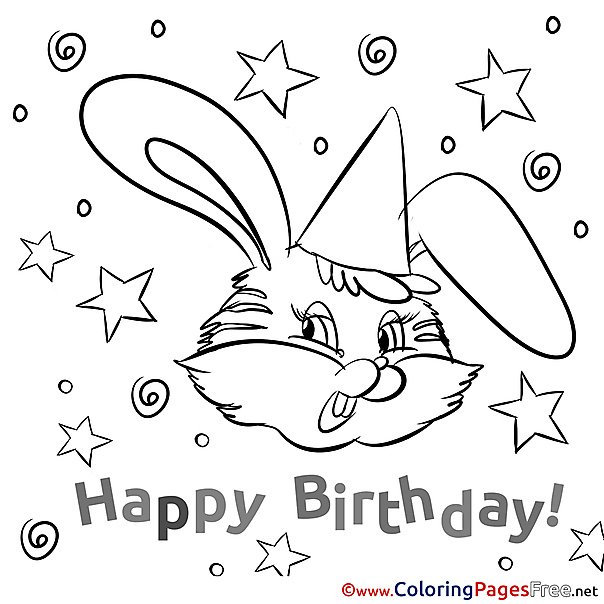 Bunny Colouring Page Happy Birthday free
