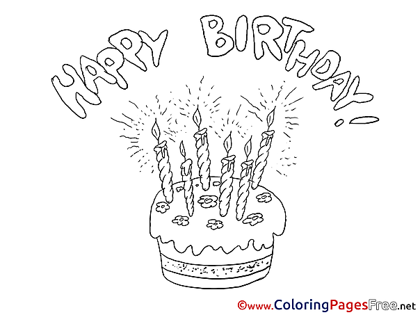 Cake Coloring Sheets Happy Birthday free