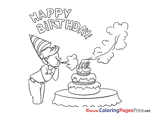 Cake Colouring Page Happy Birthday free