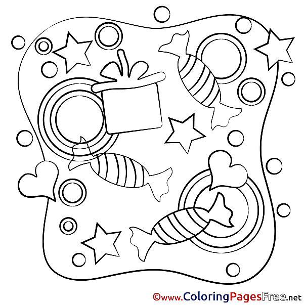 Candies printable Coloring Pages Happy Birthday