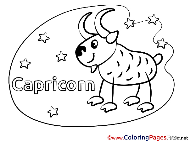 Capricorn printable Coloring Pages Happy Birthday