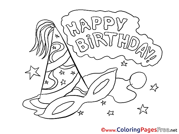 Carnival Mask printable Happy Birthday Coloring Sheets