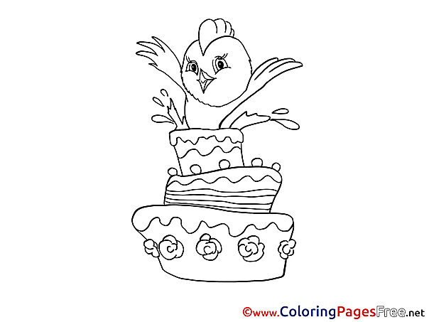 Chicken Happy Birthday Coloring Pages free