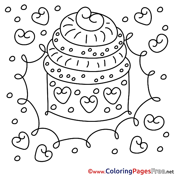 Children Cake Happy Birthday Colouring Page