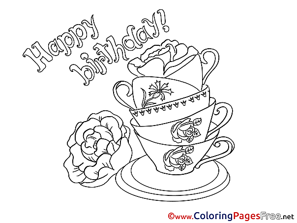 Cups Kids Happy Birthday Coloring Page