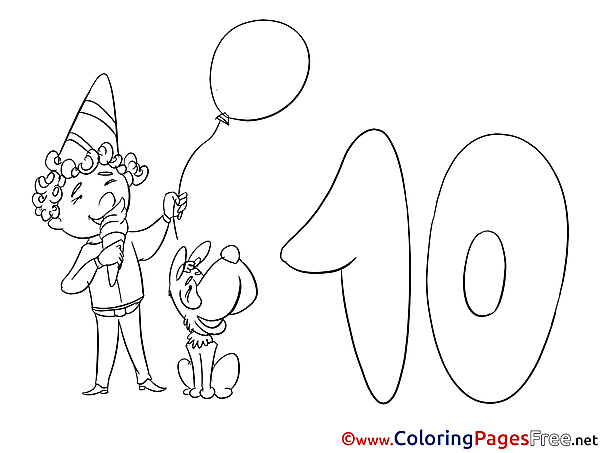 Dog Boy 10 Years free Happy Birthday Coloring Sheets