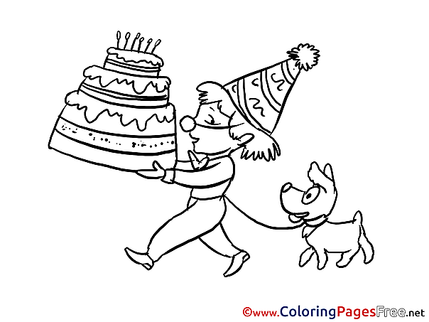Dog Boy Happy Birthday Coloring Pages download