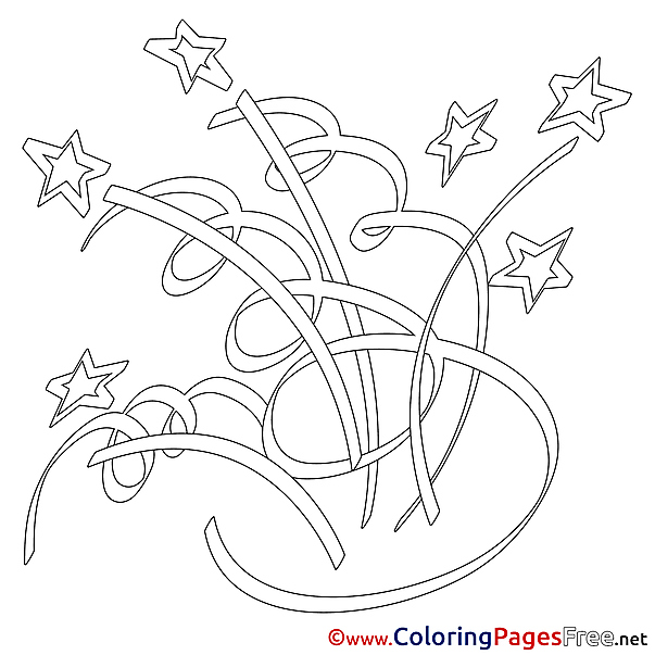 Firework Children Happy Birthday Colouring Page