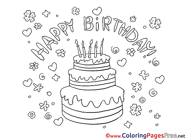 Flowers Cake printable Happy Birthday Coloring Sheets