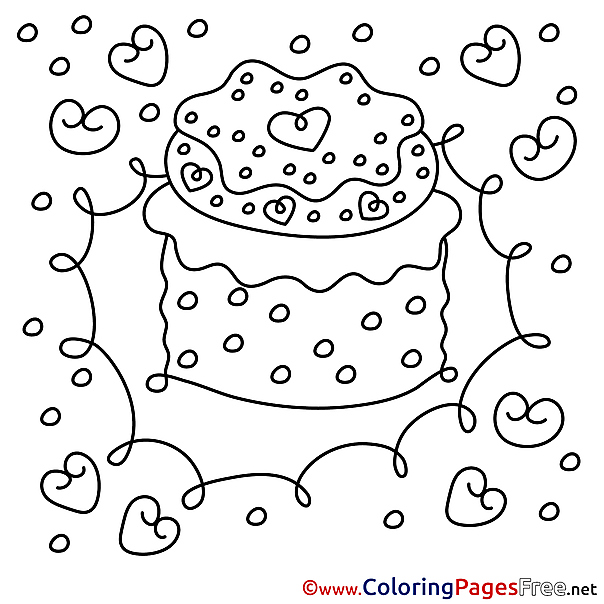 Free Cake Colouring Page Happy Birthday