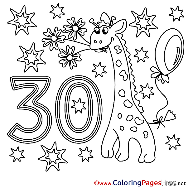 Giraffe 30 Years Happy Birthday Coloring Pages download