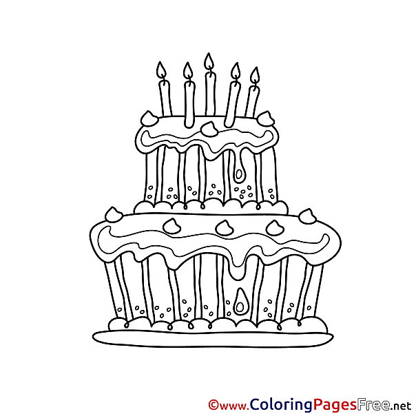 Happy Birthday Cake Colouring Sheet free