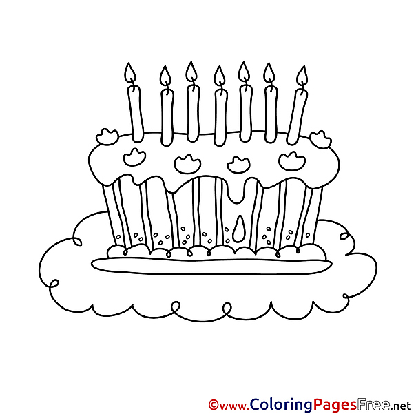 Happy Birthday Candles Cake Coloring Pages free