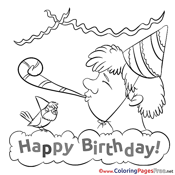 Horn Boy Bird printable Coloring Pages Happy Birthday