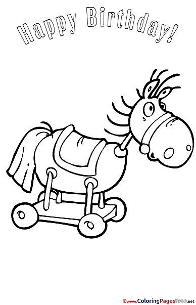 Horse Happy Birthday Coloring Pages download