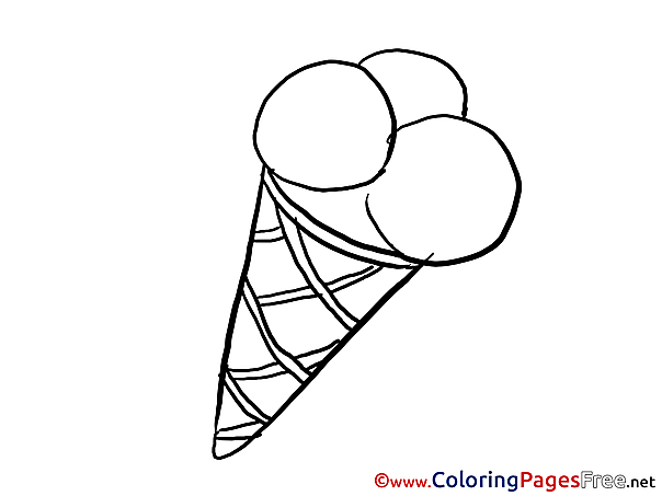 Ice Cream download Happy Birthday Coloring Pages