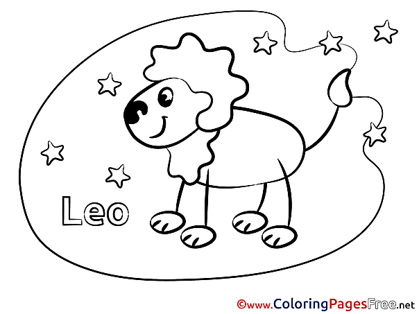 Leo Colouring Sheet download Happy Birthday