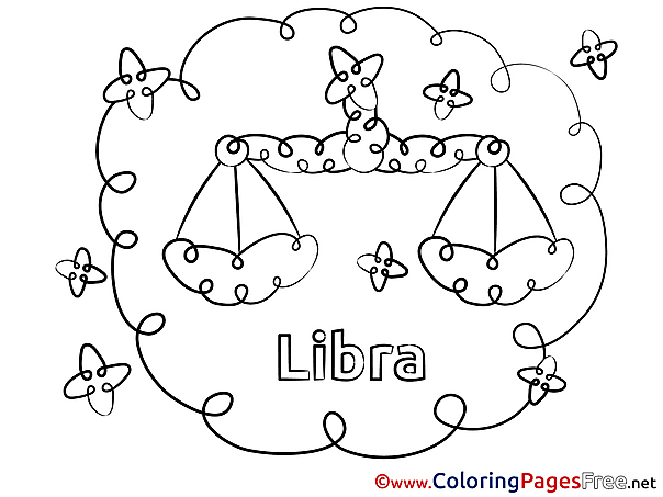 Libra Kids Happy Birthday Coloring Pages