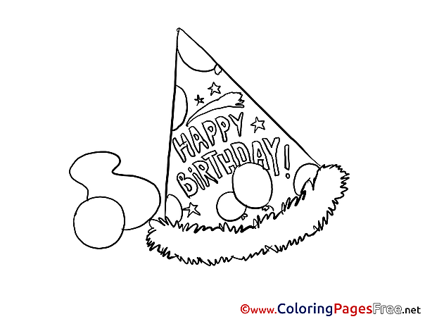 Party Hat Colouring Sheet download Happy Birthday