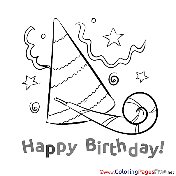 Party Hat for Kids Happy Birthday Colouring Page