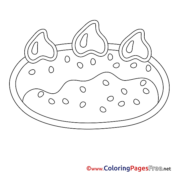 Pastry Cake printable Happy Birthday Coloring Sheets