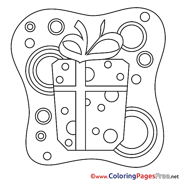Picture Gift Colouring Sheet download Happy Birthday