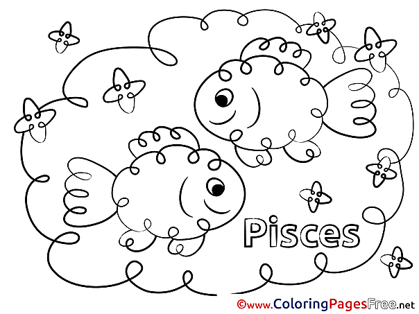 Pisces Happy Birthday Coloring Pages download