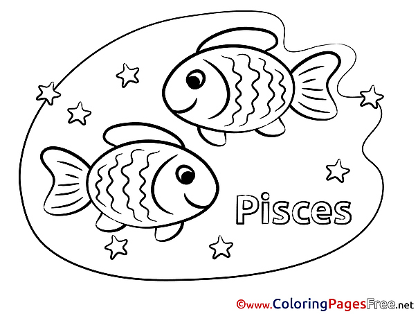 Pisces Happy Birthday Colouring Sheet free