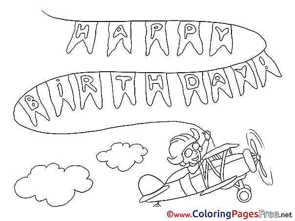 Plane Coloring Pages Happy Birthday for free