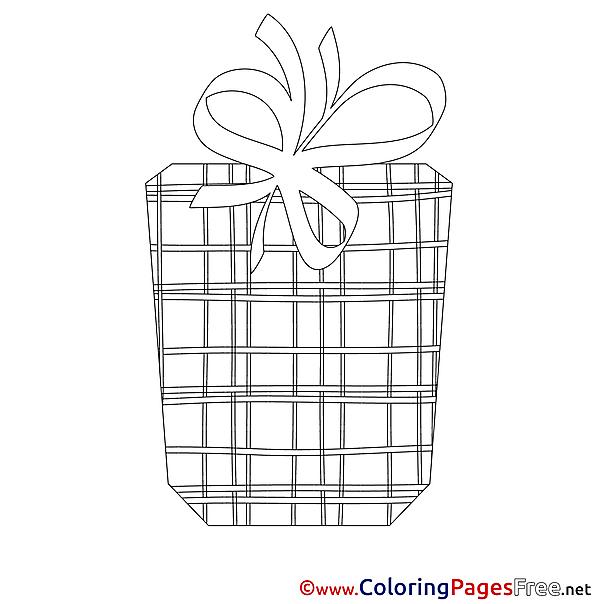 Present Children Happy Birthday Colouring Page
