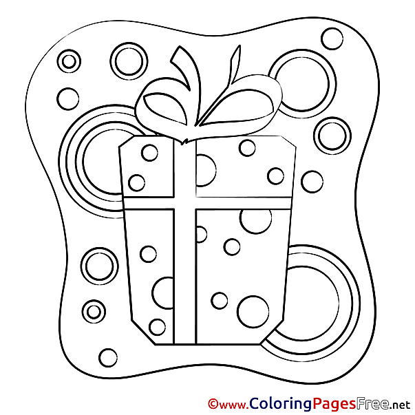 Present Colouring Page Happy Birthday free