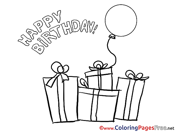 Presents Colouring Sheet download Happy Birthday