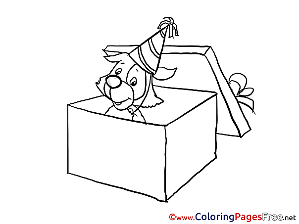 Puppy Gift download Happy Birthday Coloring Pages