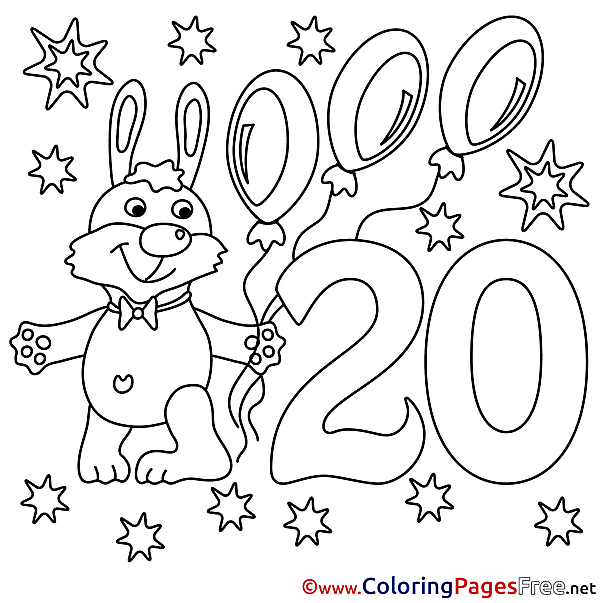 Rabbit 20 Years Colouring Sheet download Happy Birthday