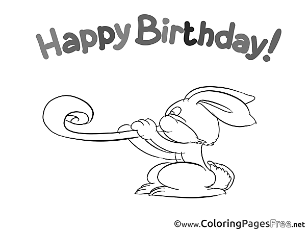 Rabbit Colouring Page Happy Birthday free
