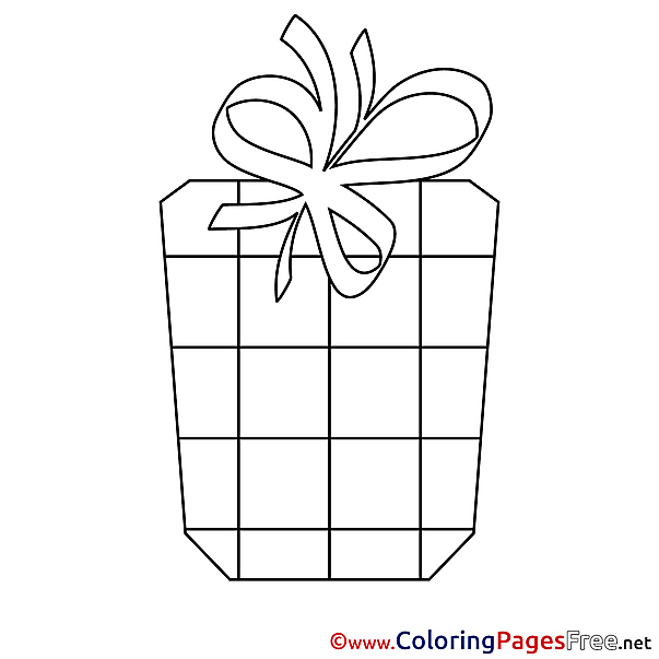 Ribbon Gift Happy Birthday Colouring Sheet free