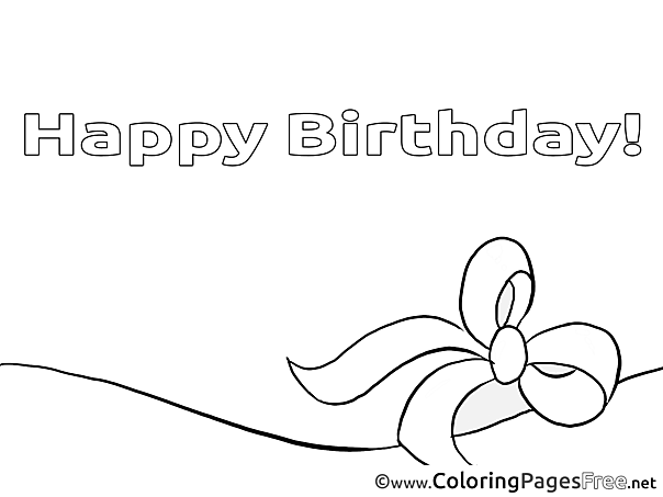 Ribbon Kids Happy Birthday Coloring Pages