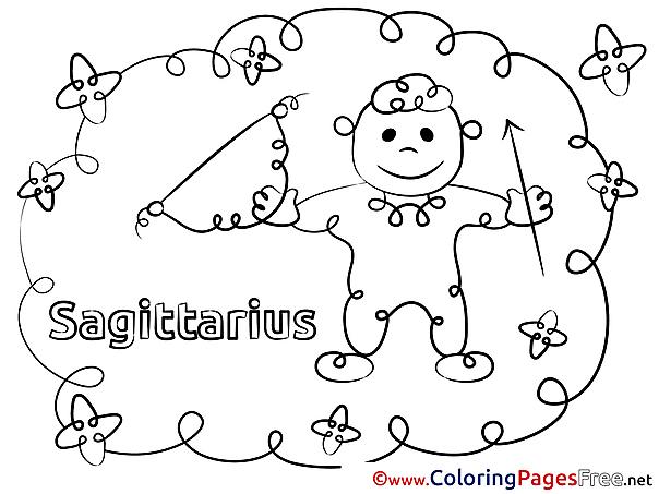 Sagittarius download Happy Birthday Coloring Pages