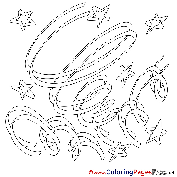 Stars Happy Birthday free Coloring Pages