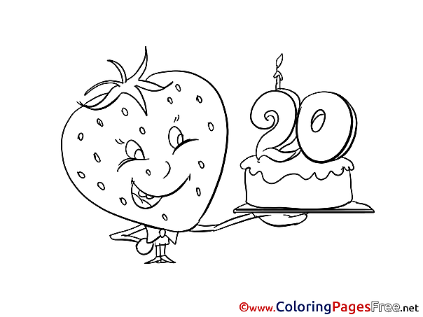 Strawberry 20 Years Coloring Pages Happy Birthday