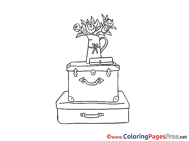 Suitcase Gifts Happy Birthday Coloring Pages download