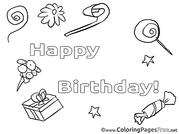 Sweets download Happy Birthday Coloring Pages