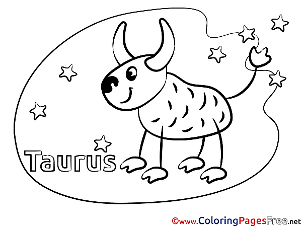 Taurus Kids Happy Birthday Coloring Pages