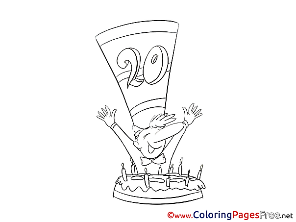 Twenty Years Cake Happy Birthday Coloring Pages free